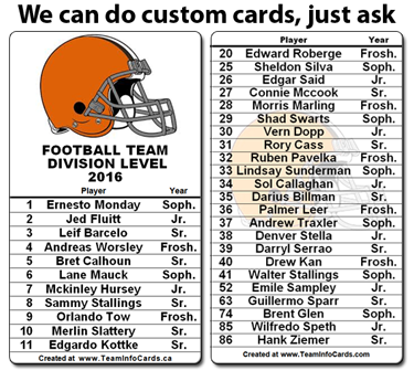 build team roster cards and parent contact cards at www